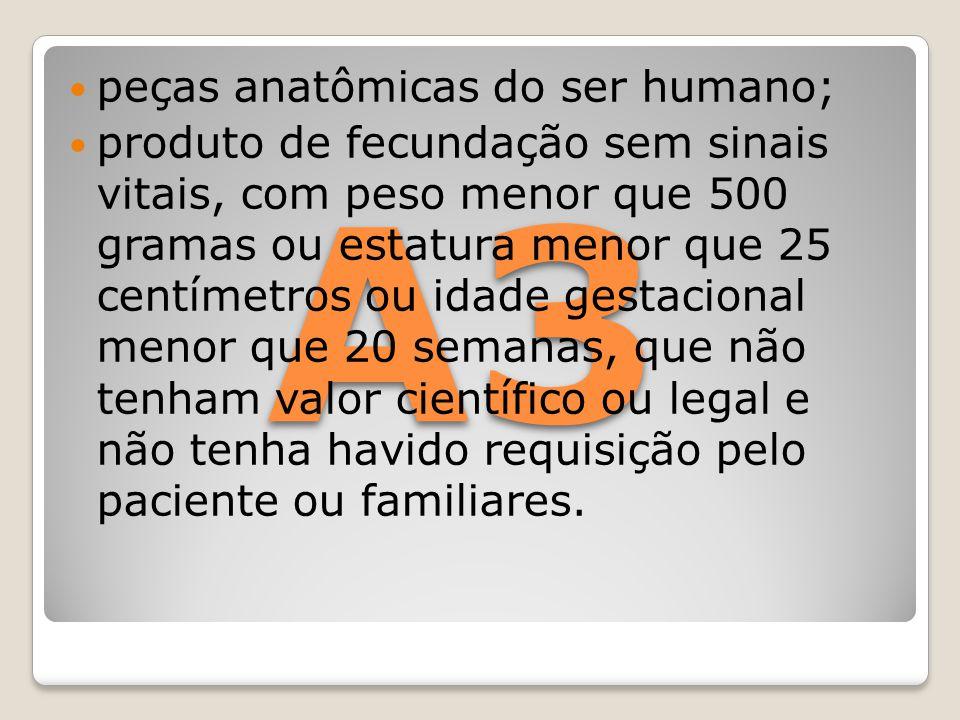 A3 peças anatômicas do ser humano;