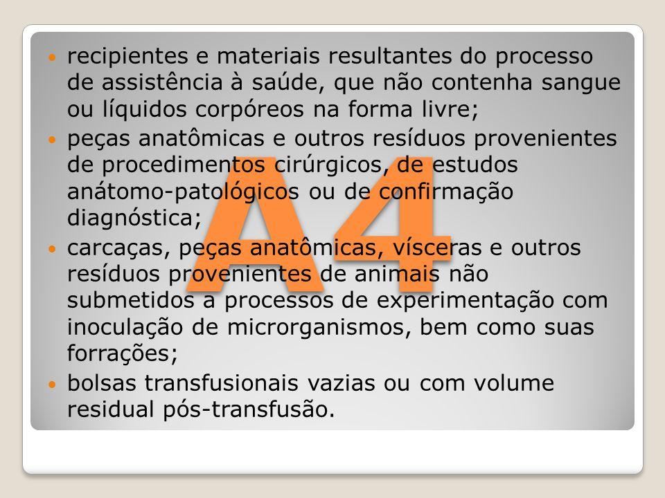 recipientes e materiais resultantes do processo de assistência à saúde, que não contenha sangue ou líquidos corpóreos na forma livre;