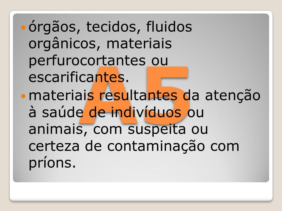 órgãos, tecidos, fluidos orgânicos, materiais perfurocortantes ou escarificantes.