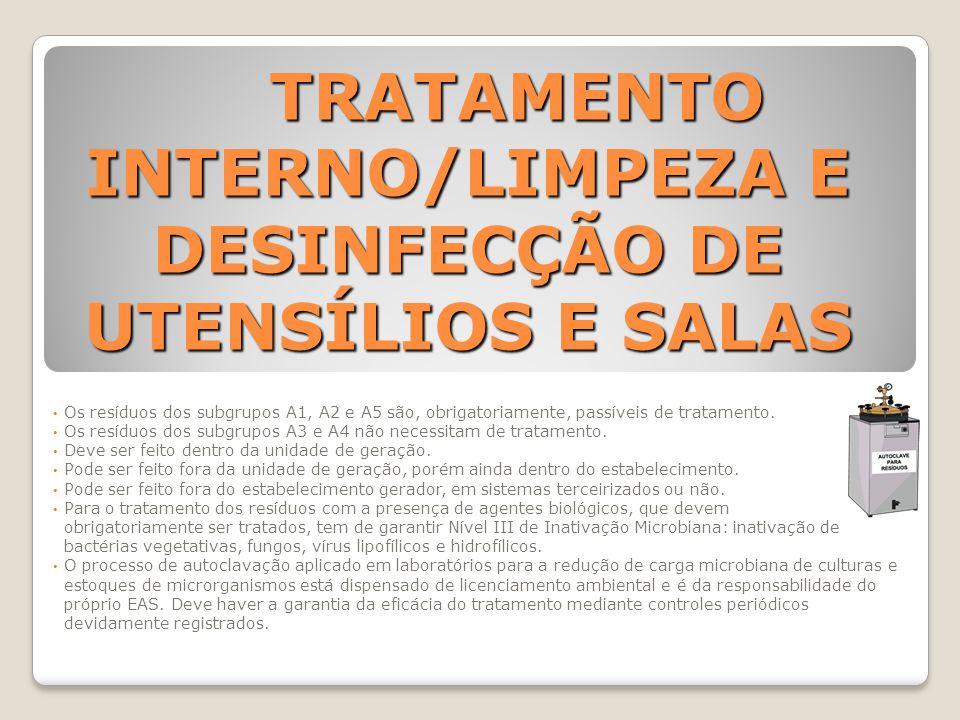 TRATAMENTO INTERNO/LIMPEZA E DESINFECÇÃO DE UTENSÍLIOS E SALAS