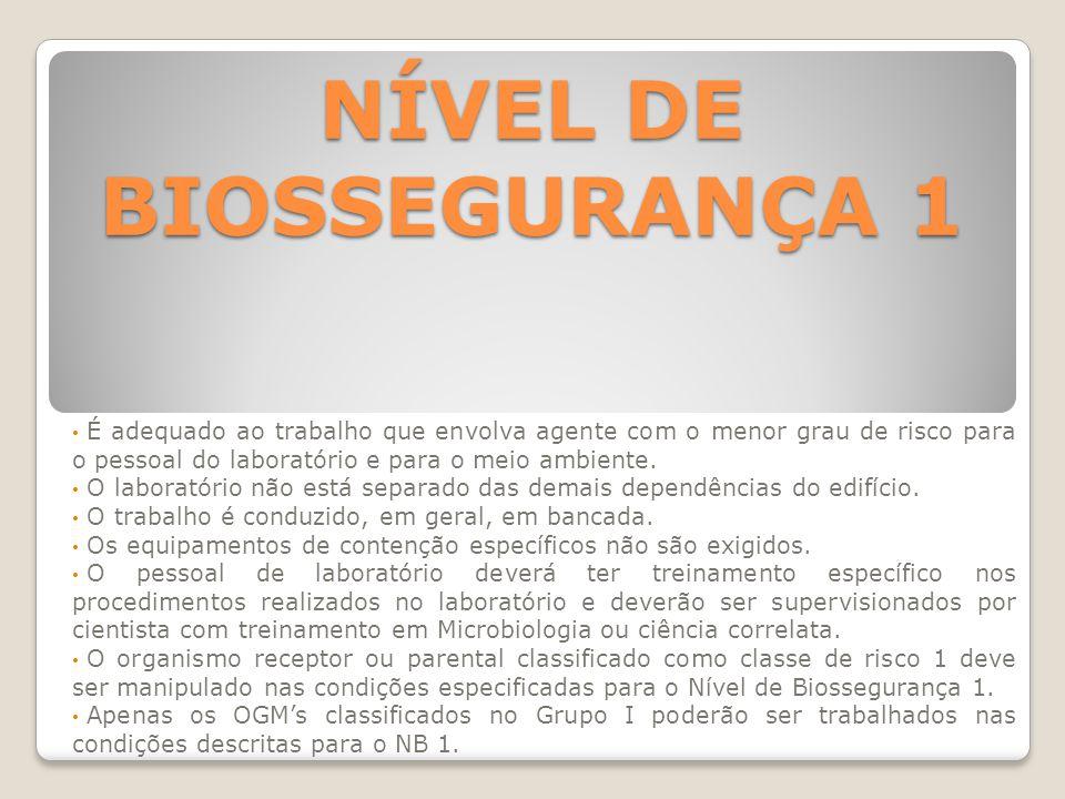 NÍVEL DE BIOSSEGURANÇA 1