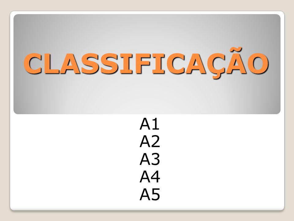 CLASSIFICAÇÃO A1 A2 A3 A4 A5