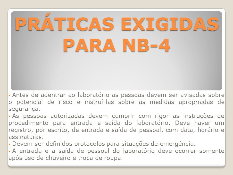 PRÁTICAS EXIGIDAS PARA NB-4