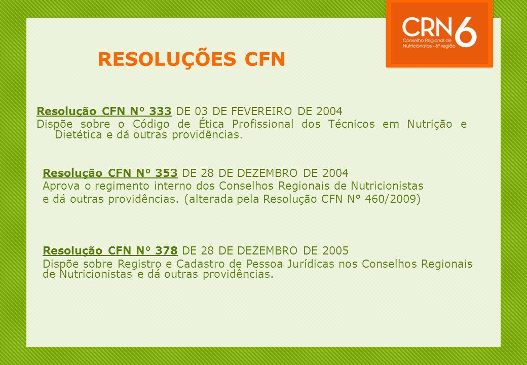 RESOLUÇÕES CFN Resolução CFN N° 333 DE 03 DE FEVEREIRO DE 2004