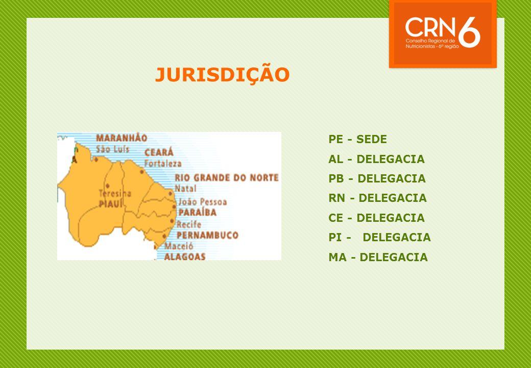 JURISDIÇÃO PE - SEDE AL - DELEGACIA PB - DELEGACIA RN - DELEGACIA