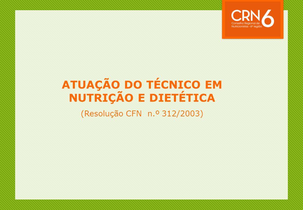 ATUAÇÃO DO TÉCNICO EM NUTRIÇÃO E DIETÉTICA