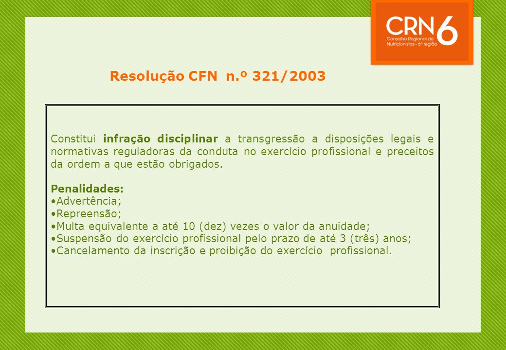 Resolução CFN n.º 321/2003