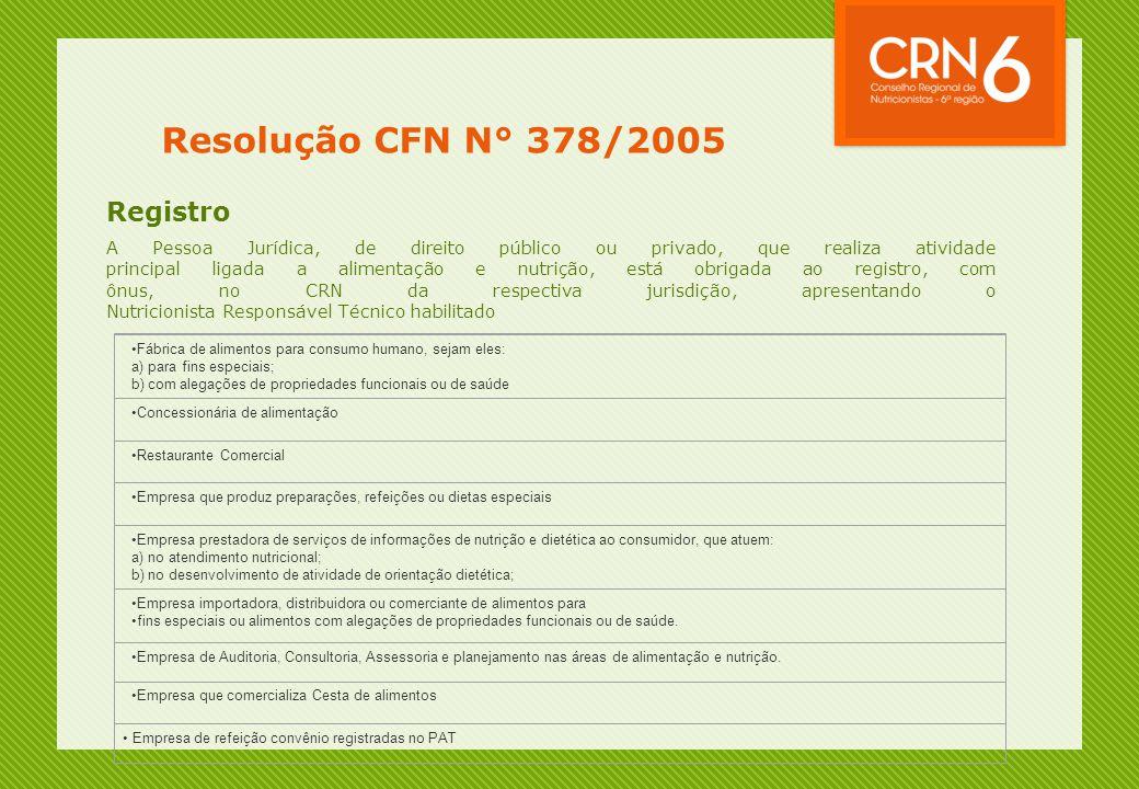 Resolução CFN N° 378/2005 Registro