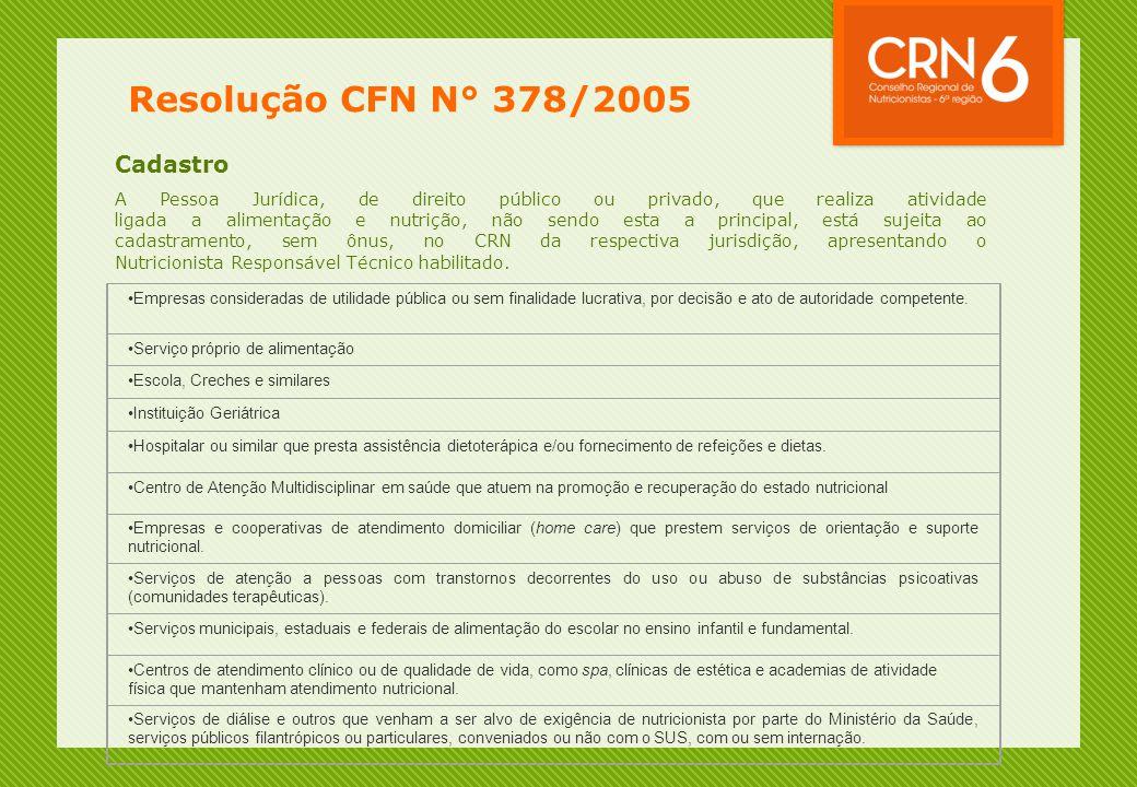 Resolução CFN N° 378/2005 Cadastro