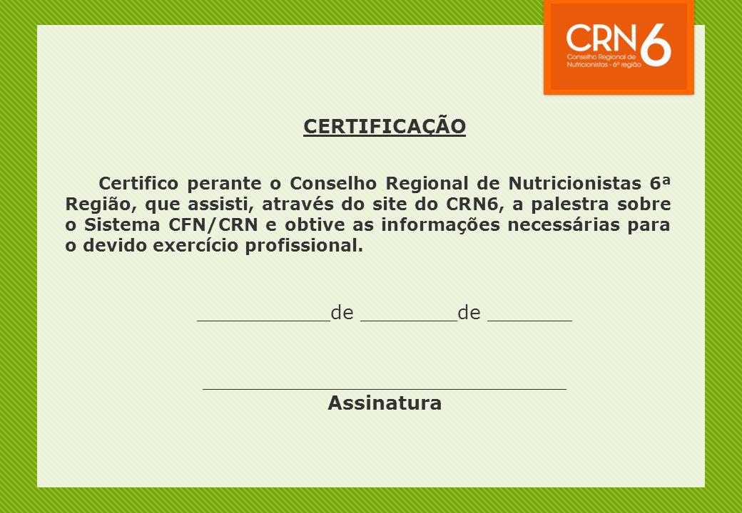 CERTIFICAÇÃO Assinatura