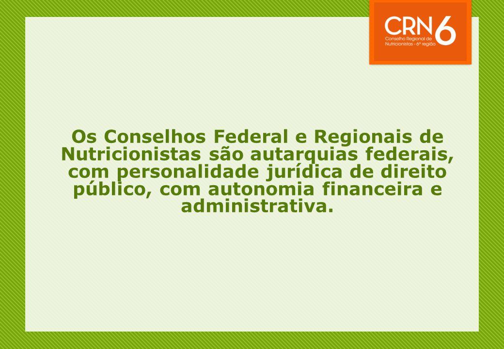 Os Conselhos Federal e Regionais de Nutricionistas são autarquias federais, com personalidade jurídica de direito público, com autonomia financeira e administrativa.