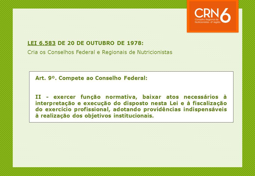 LEI 6.583 DE 20 DE OUTUBRO DE 1978: Cria os Conselhos Federal e Regionais de Nutricionistas. Art. 9º. Compete ao Conselho Federal: