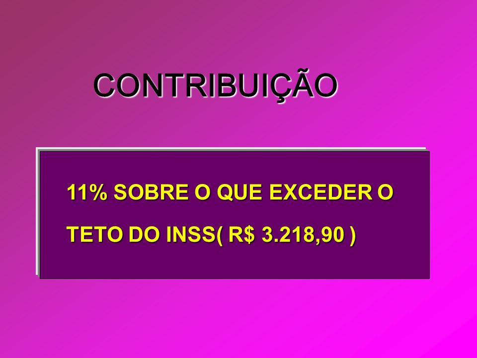 CONTRIBUIÇÃO 11% SOBRE O QUE EXCEDER O TETO DO INSS( R$ 3.218,90 )
