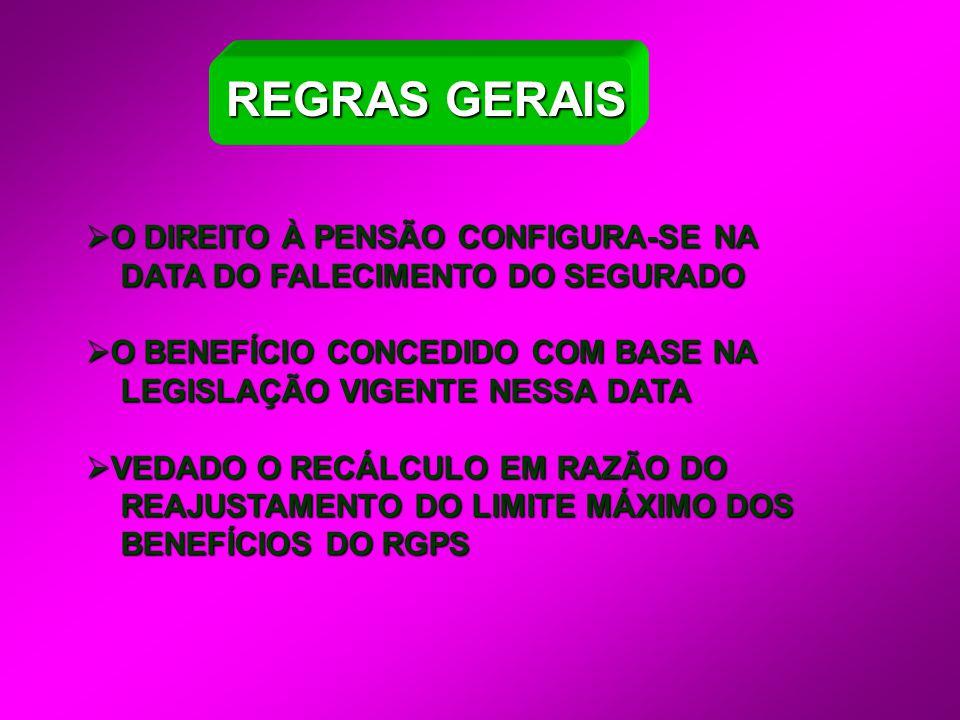 REGRAS GERAIS O DIREITO À PENSÃO CONFIGURA-SE NA