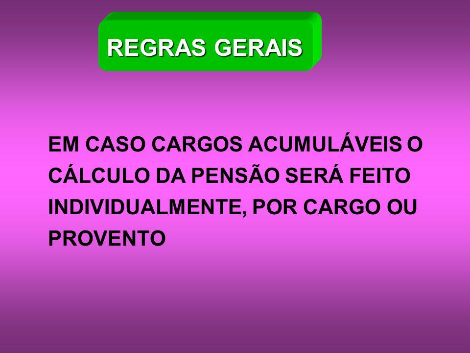 REGRAS GERAIS EM CASO CARGOS ACUMULÁVEIS O