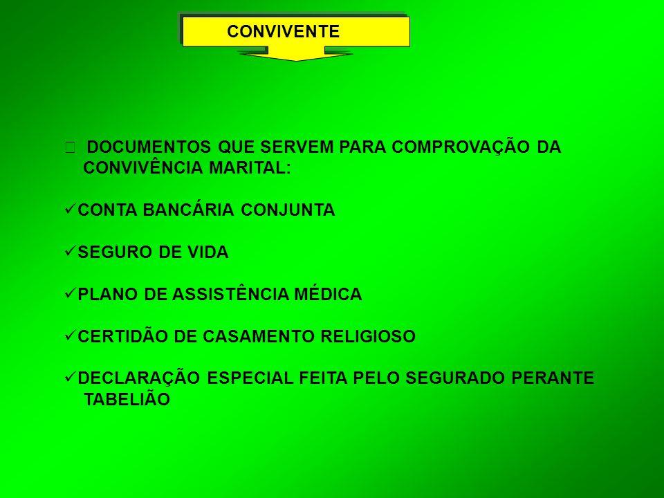CONVIVENTE Ÿ DOCUMENTOS QUE SERVEM PARA COMPROVAÇÃO DA. CONVIVÊNCIA MARITAL: CONTA BANCÁRIA CONJUNTA.