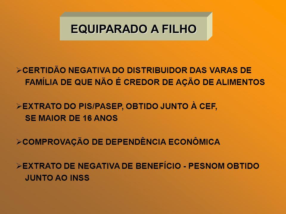 EQUIPARADO A FILHO CERTIDÃO NEGATIVA DO DISTRIBUIDOR DAS VARAS DE