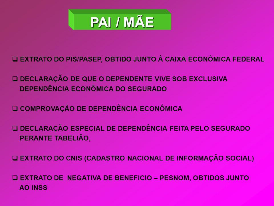PAI / MÃE EXTRATO DO PIS/PASEP, OBTIDO JUNTO À CAIXA ECONÔMICA FEDERAL