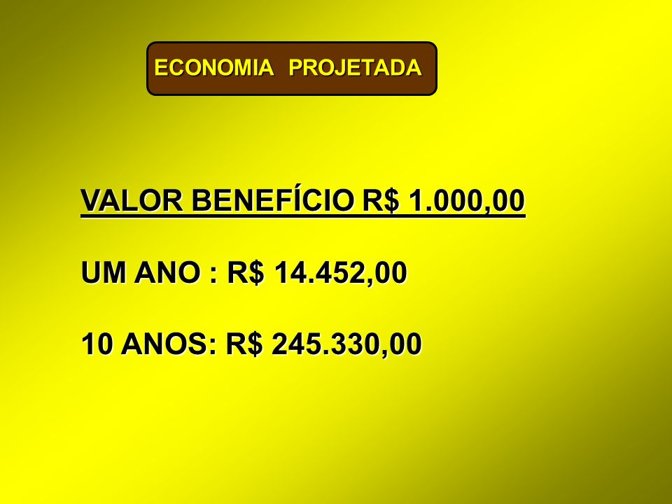 VALOR BENEFÍCIO R$ 1.000,00 UM ANO : R$ 14.452,00