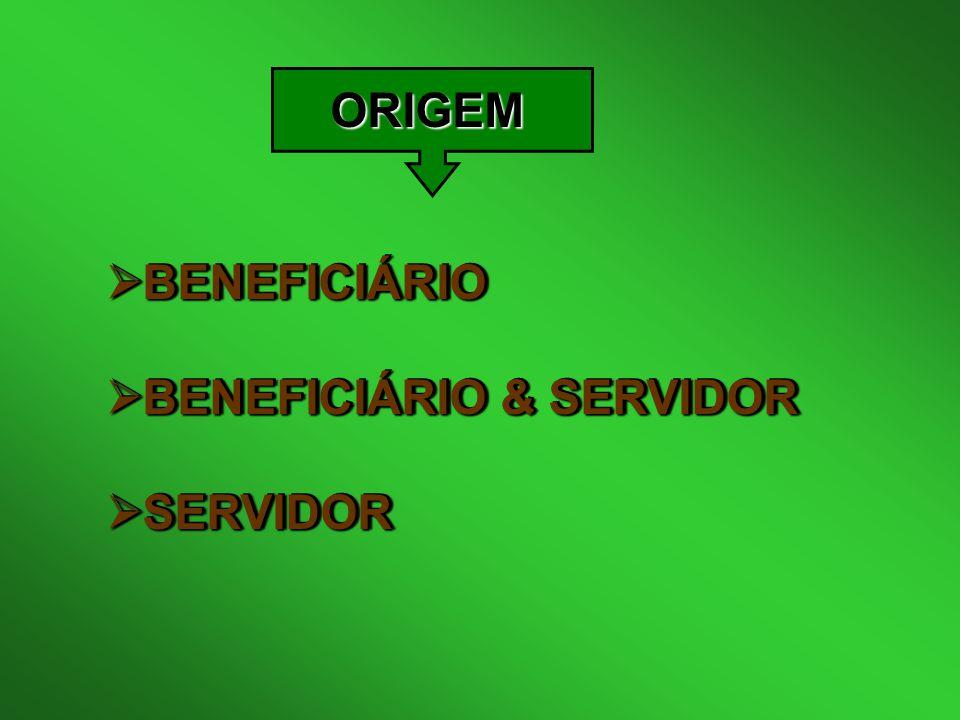 ORIGEM BENEFICIÁRIO BENEFICIÁRIO & SERVIDOR SERVIDOR
