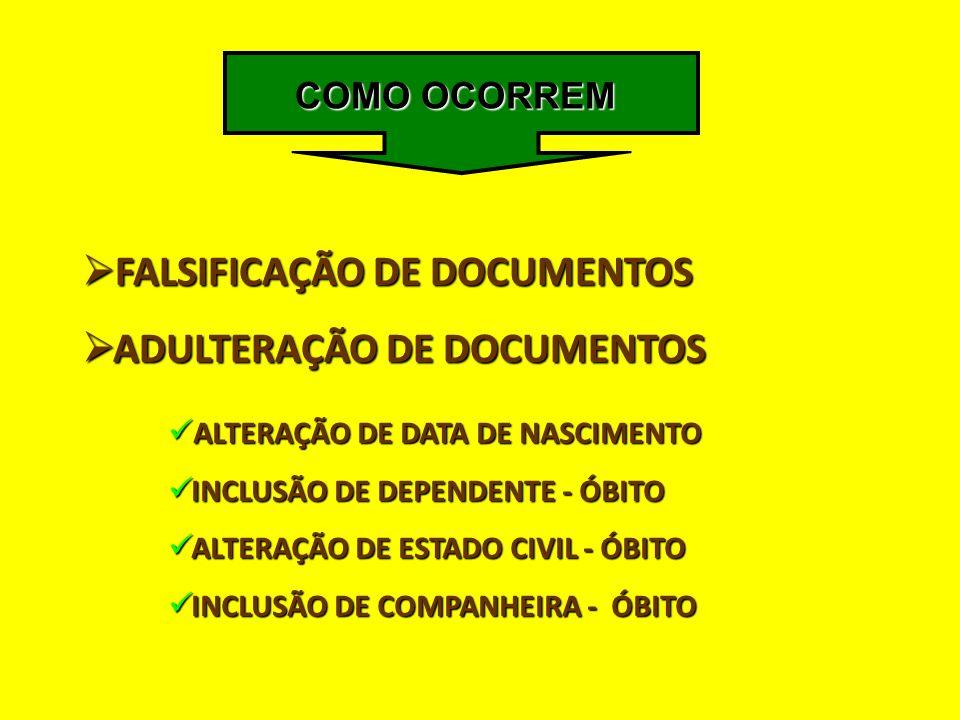 FALSIFICAÇÃO DE DOCUMENTOS ADULTERAÇÃO DE DOCUMENTOS