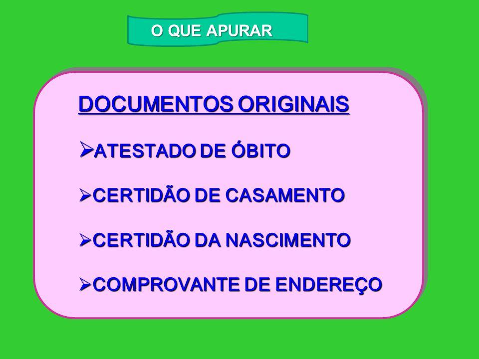 DOCUMENTOS ORIGINAIS ATESTADO DE ÓBITO CERTIDÃO DE CASAMENTO