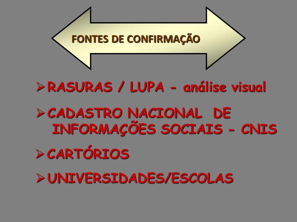 RASURAS / LUPA - análise visual