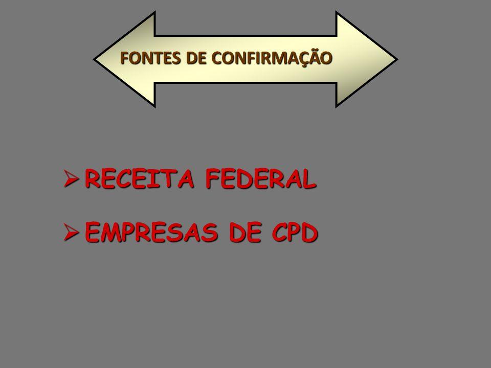 FONTES DE CONFIRMAÇÃO RECEITA FEDERAL EMPRESAS DE CPD