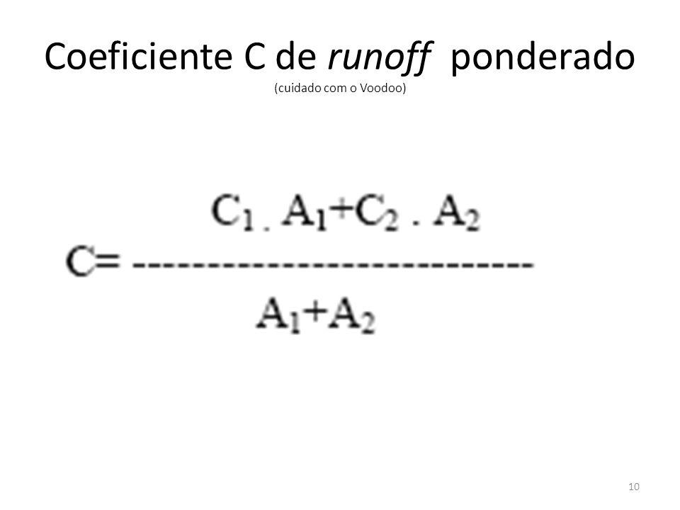Coeficiente C de runoff ponderado (cuidado com o Voodoo)
