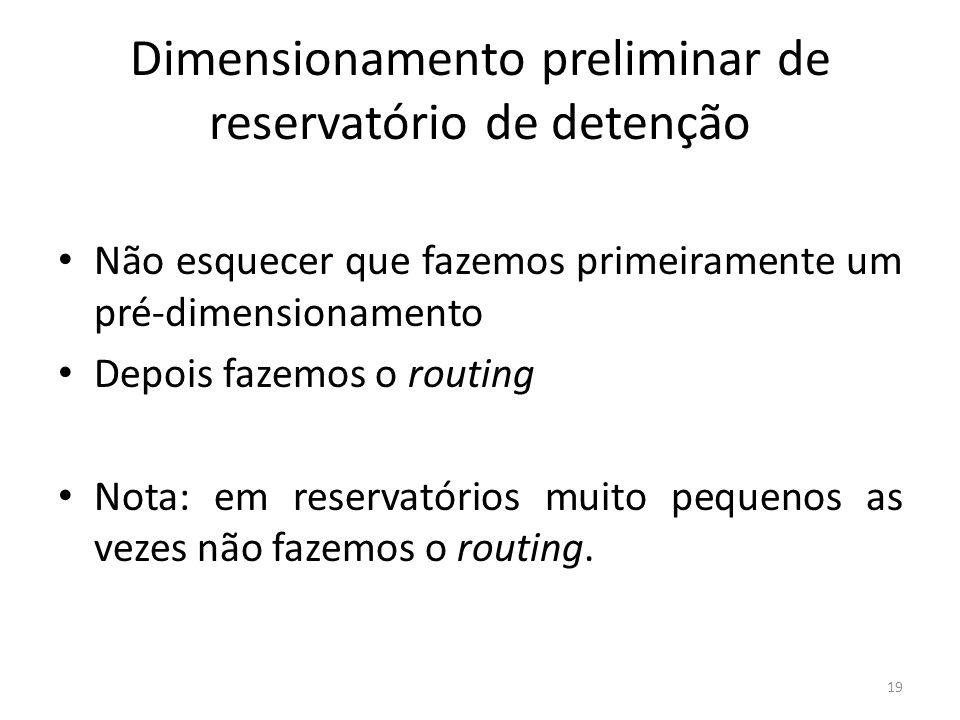 Dimensionamento preliminar de reservatório de detenção