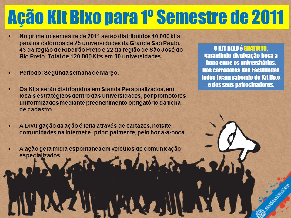 Ação Kit Bixo para 1º Semestre de 2011