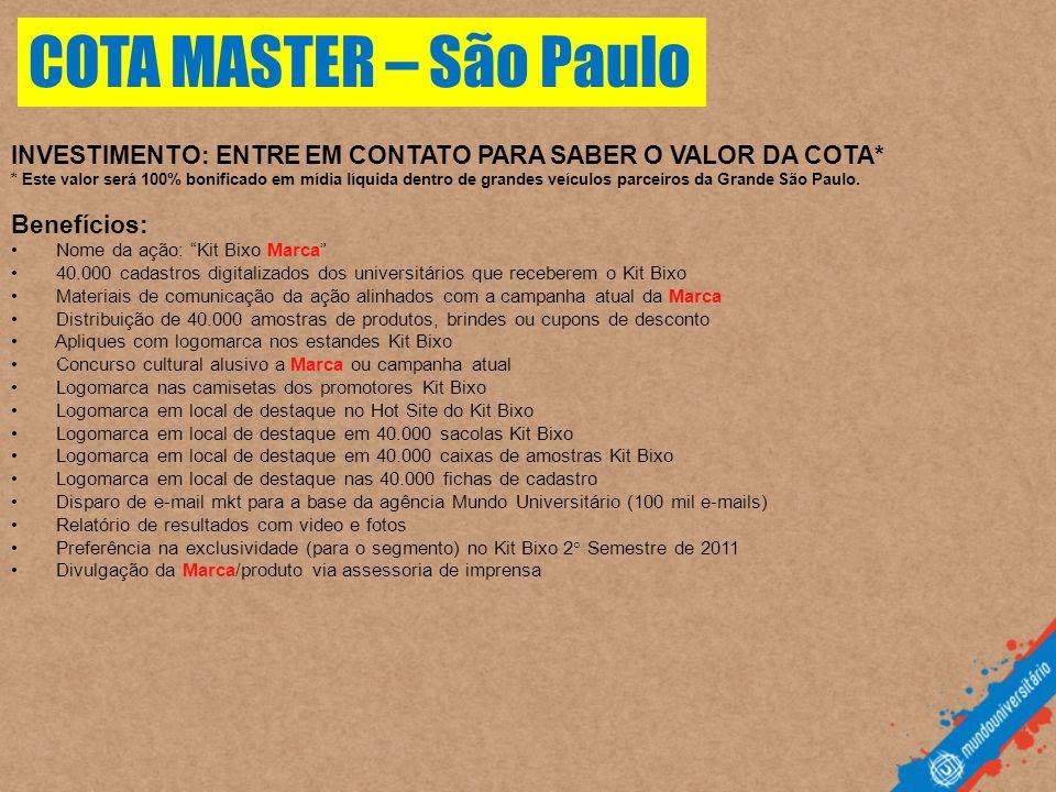 COTA MASTER – São Paulo INVESTIMENTO: ENTRE EM CONTATO PARA SABER O VALOR DA COTA*
