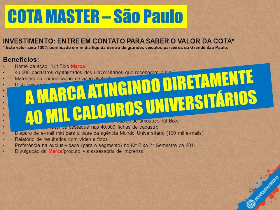 A MARCA ATINGINDO DIRETAMENTE 40 MIL CALOUROS UNIVERSITÁRIOS