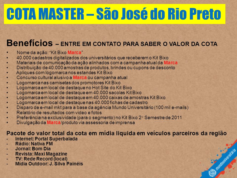 COTA MASTER – São José do Rio Preto