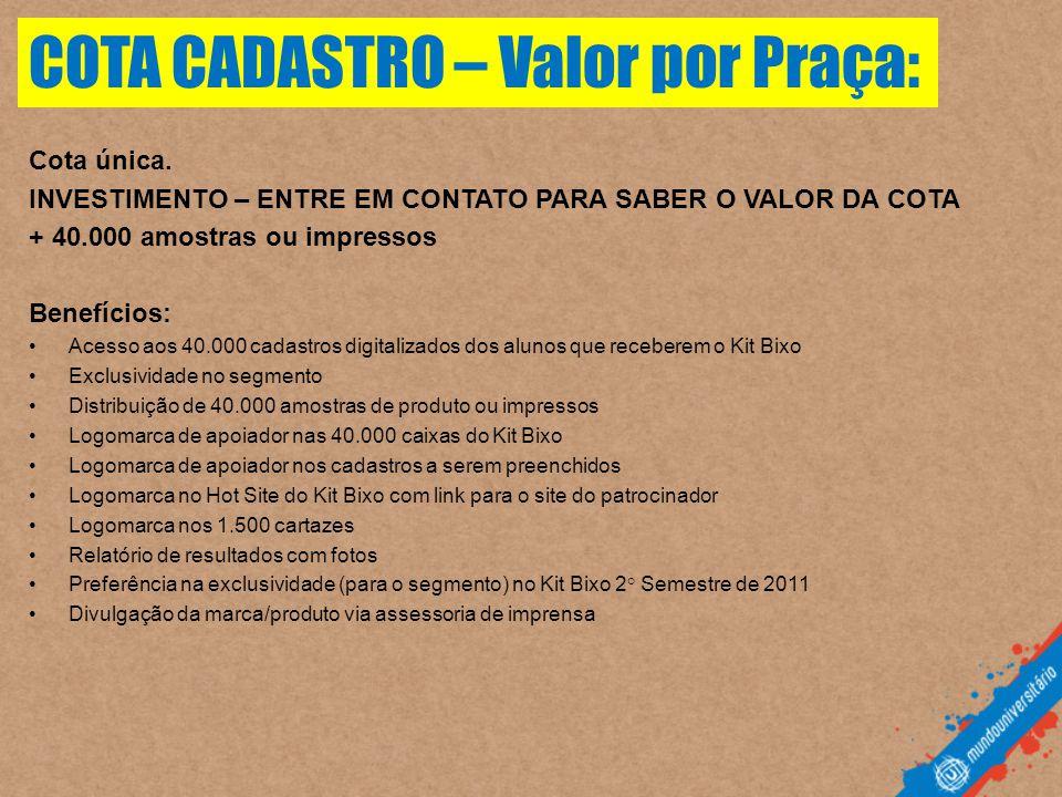 COTA CADASTRO – Valor por Praça: