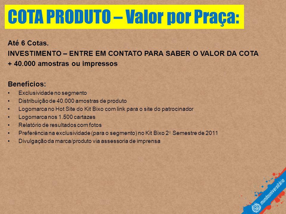 COTA PRODUTO – Valor por Praça: