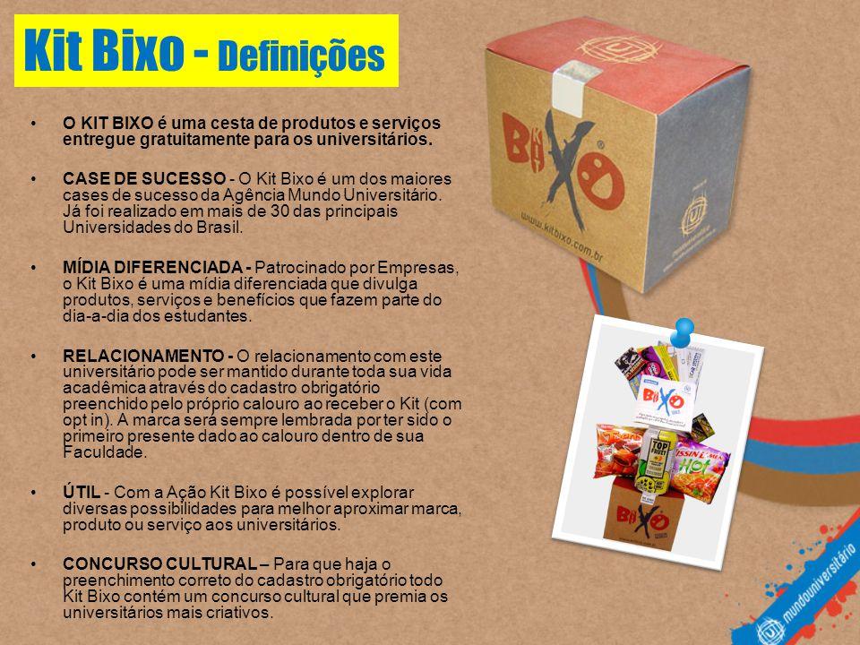 Kit Bixo - Definições O KIT BIXO é uma cesta de produtos e serviços entregue gratuitamente para os universitários.