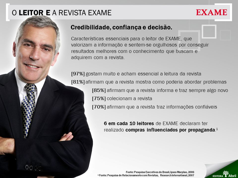O LEITOR E A REVISTA EXAME