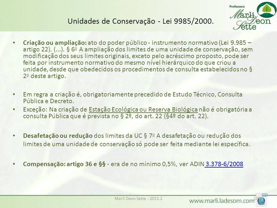 Unidades de Conservação - Lei 9985/2000.