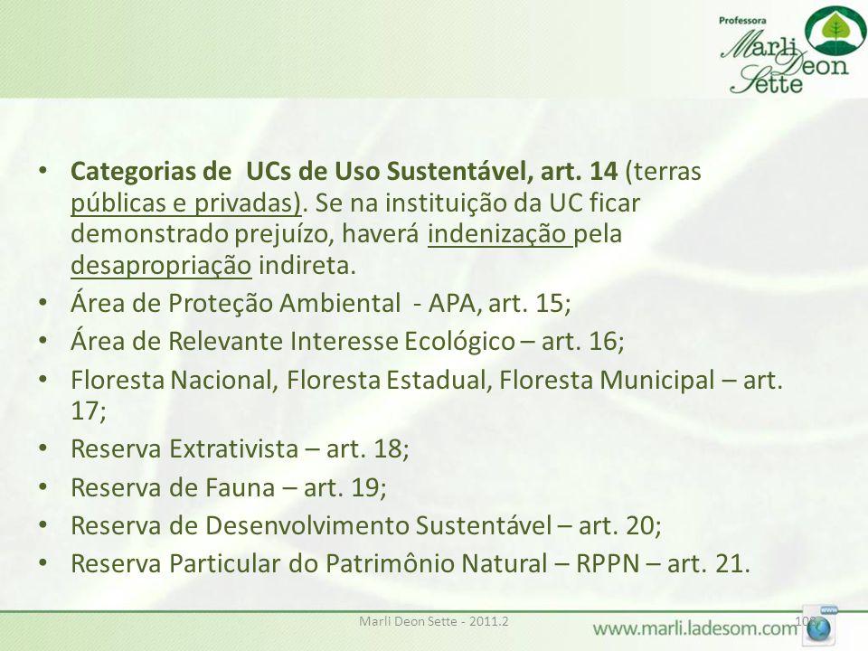 Área de Proteção Ambiental - APA, art. 15;