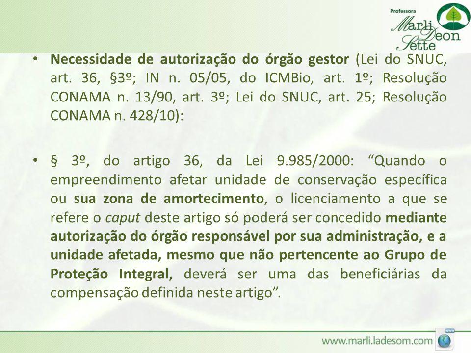 Necessidade de autorização do órgão gestor (Lei do SNUC, art