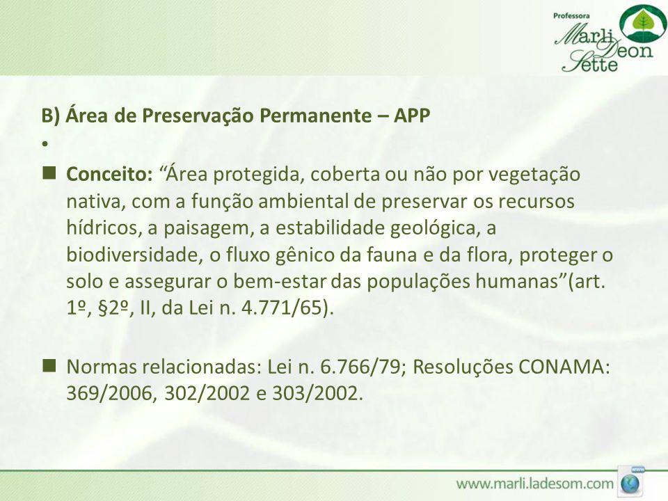 B) Área de Preservação Permanente – APP