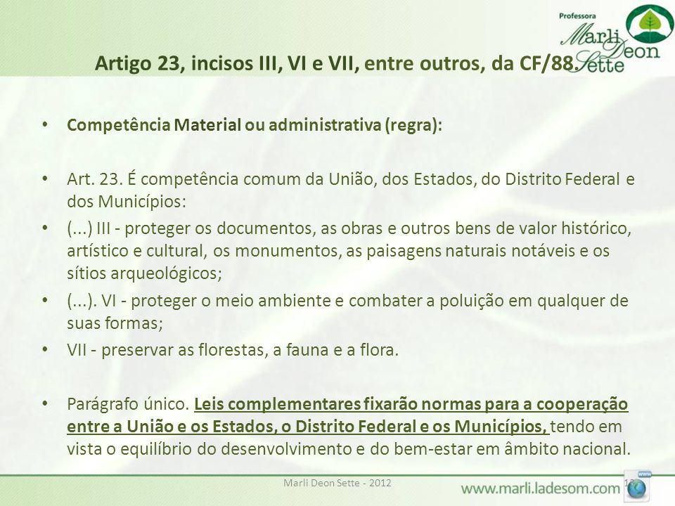 Artigo 23, incisos III, VI e VII, entre outros, da CF/88.
