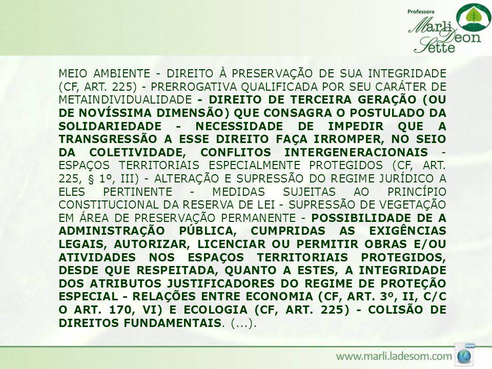 MEIO AMBIENTE - DIREITO À PRESERVAÇÃO DE SUA INTEGRIDADE (CF, ART