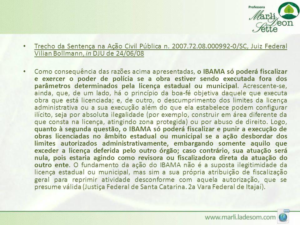 Trecho da Sentença na Ação Civil Pública n. 2007. 72. 08