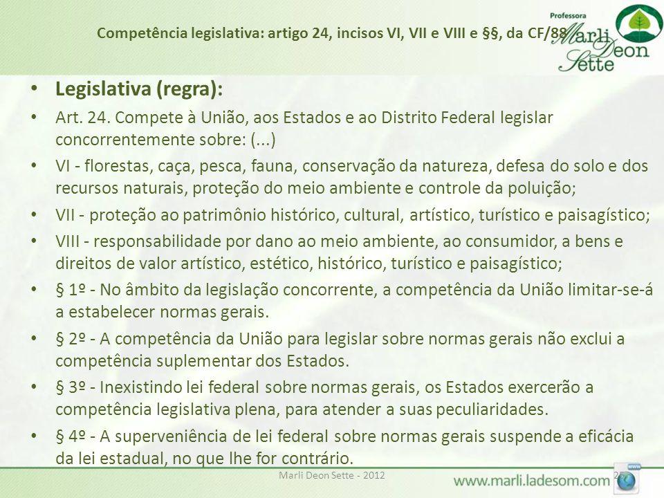 Competência legislativa: artigo 24, incisos VI, VII e VIII e §§, da CF/88