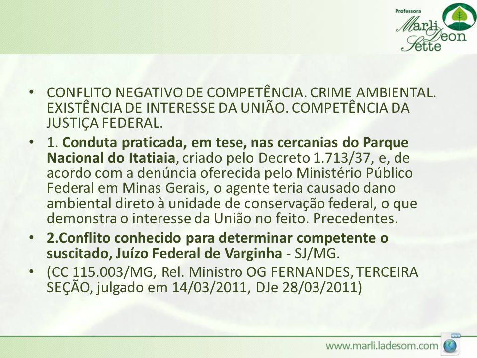 CONFLITO NEGATIVO DE COMPETÊNCIA. CRIME AMBIENTAL