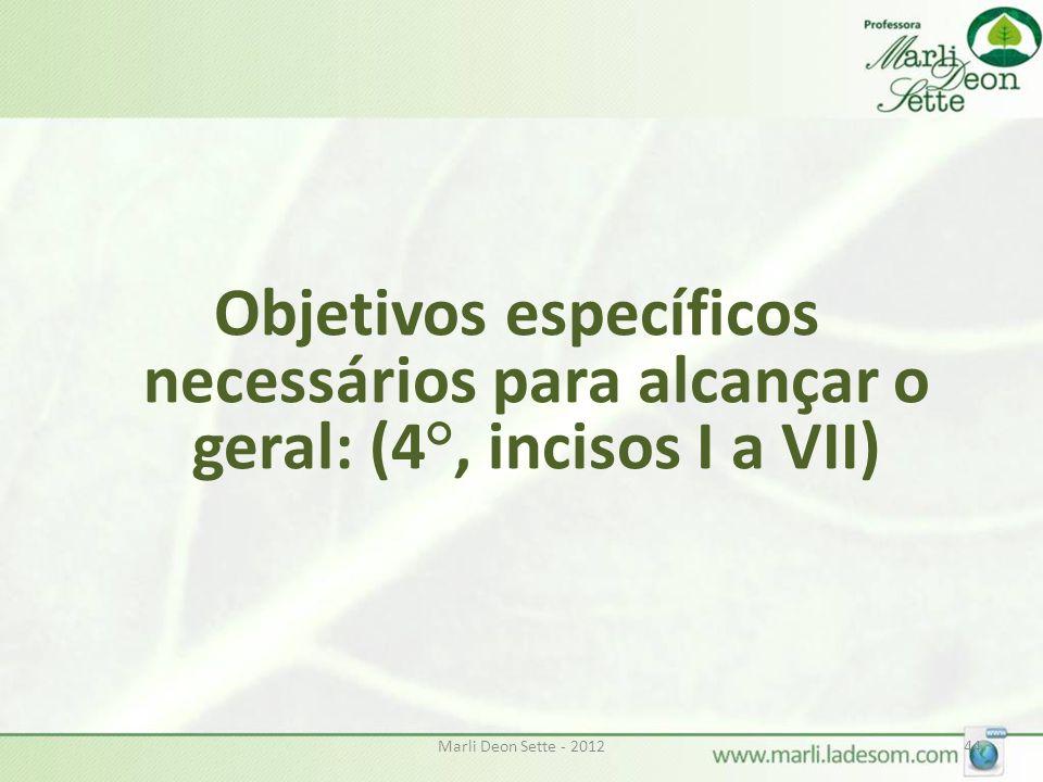 Objetivos específicos necessários para alcançar o geral: (4°, incisos I a VII)