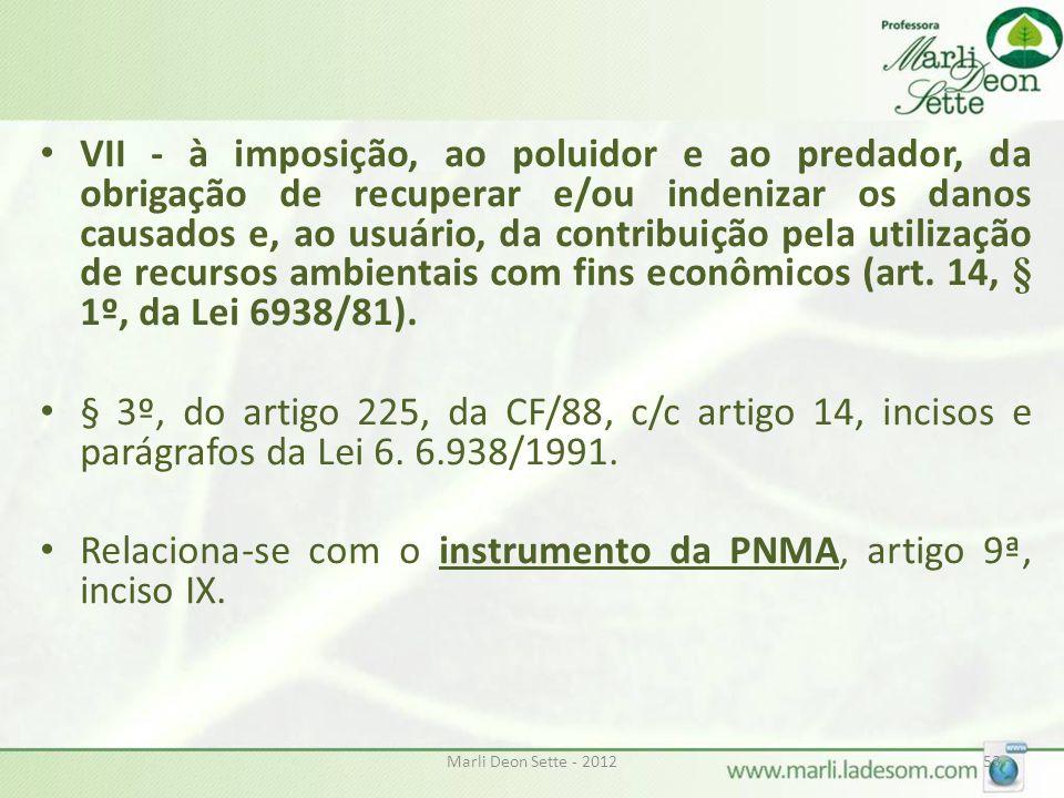 Relaciona-se com o instrumento da PNMA, artigo 9ª, inciso IX.
