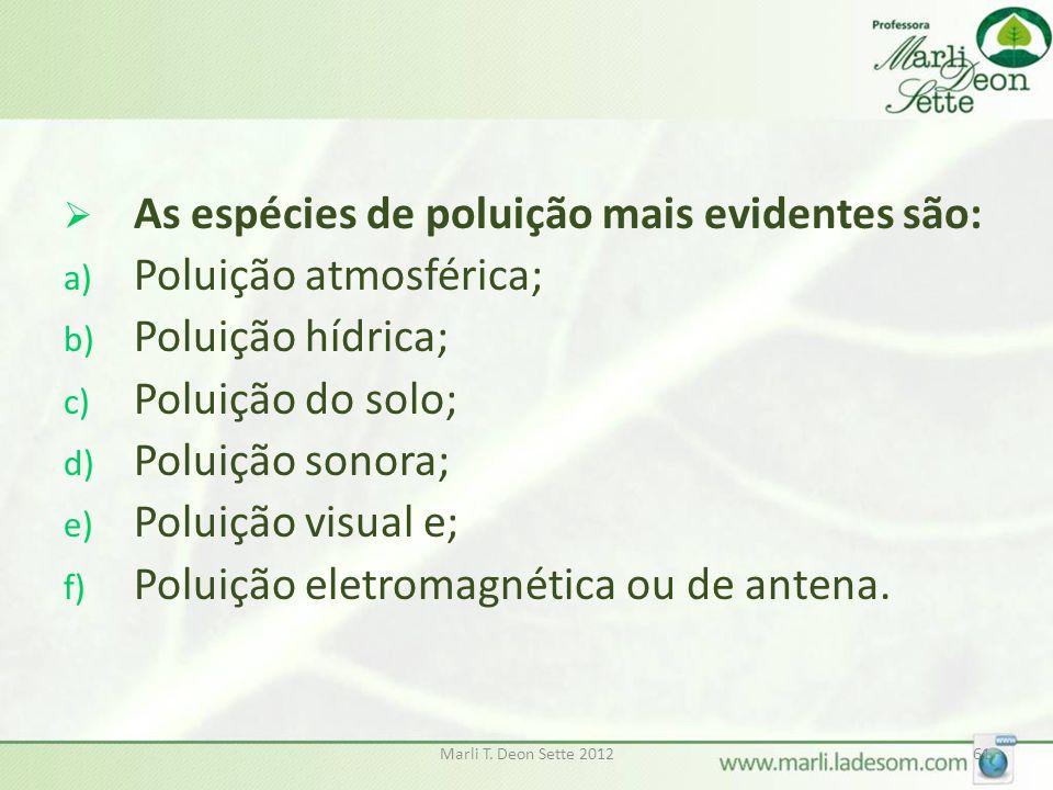 As espécies de poluição mais evidentes são: Poluição atmosférica;